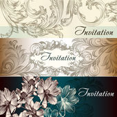 Collection of vector wedding cards in vintage style — Stock Vector