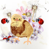 Cute Easter card with little chicken, flowers and ladybirds — Stock Vector