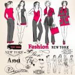 vector siluetas de chicas con estilo para el diseño de moda — Vector de stock  #46366163
