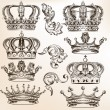 Collection of vector detailed crowns — Stock Vector #46483511
