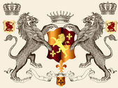 Heraldic design with lions and shield — Stock Vector