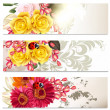 Collection of cards in floral style — Stock Vector