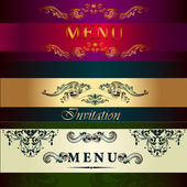 Set of vector menu cards in vintage style — Stock Vector
