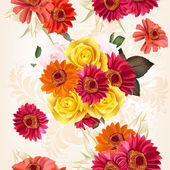 Floral seamless pattern with roses and flowers — Vettoriale Stock