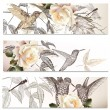 Vector set of floral backgrounds with humming  birds — Stock Vector #47281325