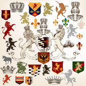 Collection of heraldic decorative elements fleur de lis, shields — Stock Vector