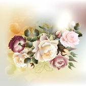 Fashion vector background with roses in vintage style — Stockvector