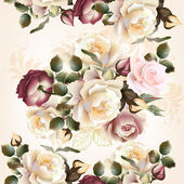 Floral  seamless pattern with roses and flowers in watercolor st — Stock Vector