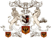 Heraldický design s lev, koně a štít — Stock vektor