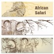 Business cards set in African safari style — Stock Vector