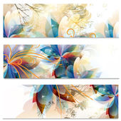 Abstract business cards set in floral style — Stock Vector