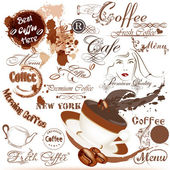 Grunge coffee labels, signatures and elements set — Stock Vector