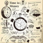 Collection of vector hand drawn vintage  elements time is money — Stock Vector