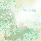 Wedding background with floral swirls in grunge vintage style — Stock Vector