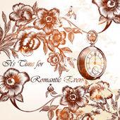 与花在复古风格的时尚婚礼背景 — 图库矢量图片
