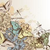 Vector pattern with butterflies in vintage style — Vector de stock