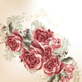 Fashion background with roses in retro style — ストックベクタ