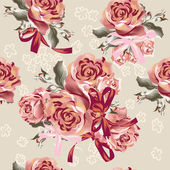 Floral seamless vector  pattern with roses — ストックベクタ