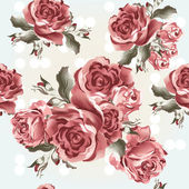 Floral seamless vector wallpaper pattern with roses in vintage s — ストックベクタ