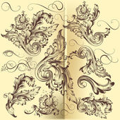 Collection of vector calligraphic swirls — Wektor stockowy