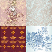 Set of vector seamless wallpaper patterns for design — Vecteur