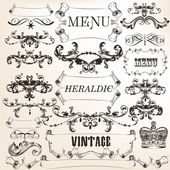 Collection of vector decorative calligraphic elements in vintage — Stock Vector
