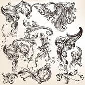 Colección de elementos decorativos remolino vector estilo vintage — Vector de stock
