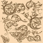 Collection of vector swirl elements in vintage style — ストックベクタ