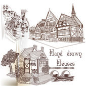 Hand drawn vector houses — Stock Vector