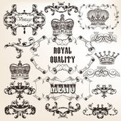 Set di elementi calligrafici decorativi del vettore in stile vintage — Vettoriale Stock