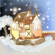 Evening Christmas scene with house in snow — Stock Vector #50632809