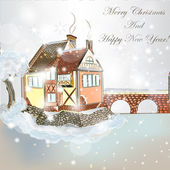 Christmas scene with house in snow — ストックベクタ