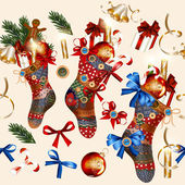 Christmas seamless wallpaper pattern with socks, baubles, bells  — Stock Vector