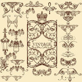 Collection of vector vintage decorative elements and flourishes — Stock Vector