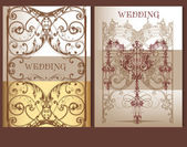 Collection of wedding cards in pastel colors — Stock Vector
