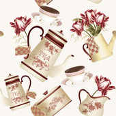 Seamless wallpaper pattern with teapots, cups and flowers — Stock Vector