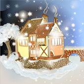 Evening Christmas scene with house in snow — Stock Vector