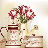 Vintage background with teapot, cup and tulips in pastel tones — Stock Vector