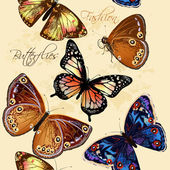 Beautiful seamless wallpaper pattern with butterflies — Vetor de Stock