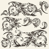 Collection of vector vintage flourishes — Stock Vector