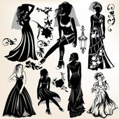 Collection of wedding silhouettes and elements — Stock Vector