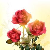 Grunge romantic background with roses — Stockvektor