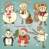 Christmas snowmen set for design — Stock Vector