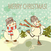 Christmas card with snowmen in vintage style — Stock Vector