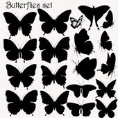 Collection of butterflies vector silhouettes — Stock Vector