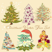 Christmas vector tree set for design — Stock Vector