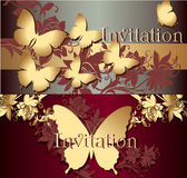 Collection of invitation cards with butterflies — Stock Vector