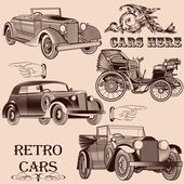 Collection of retro cars — Stock Vector