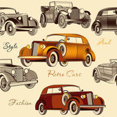 Stylish seamless wallpaper pattern with retro cars — Vettoriale Stock