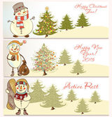 Vector  set of Christmas banners with snowmen — Stock Vector